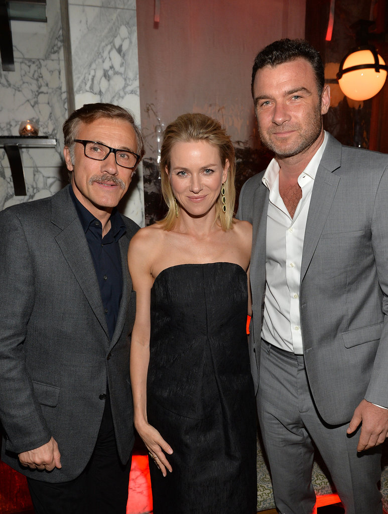 Liev Schreiber and Naomi Watts hung out with Christoph Waltz at Audi's pre-Globes bash on Thursday.