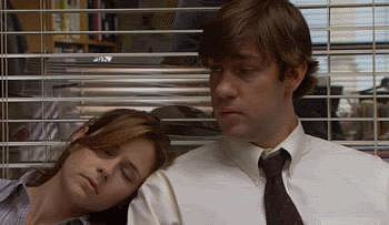 """Then, at the end of Michael's so-called """"Diversity Day,"""" Pam falls asleep on Jim's shoulder and they share a sweet moment when he wakes her up."""