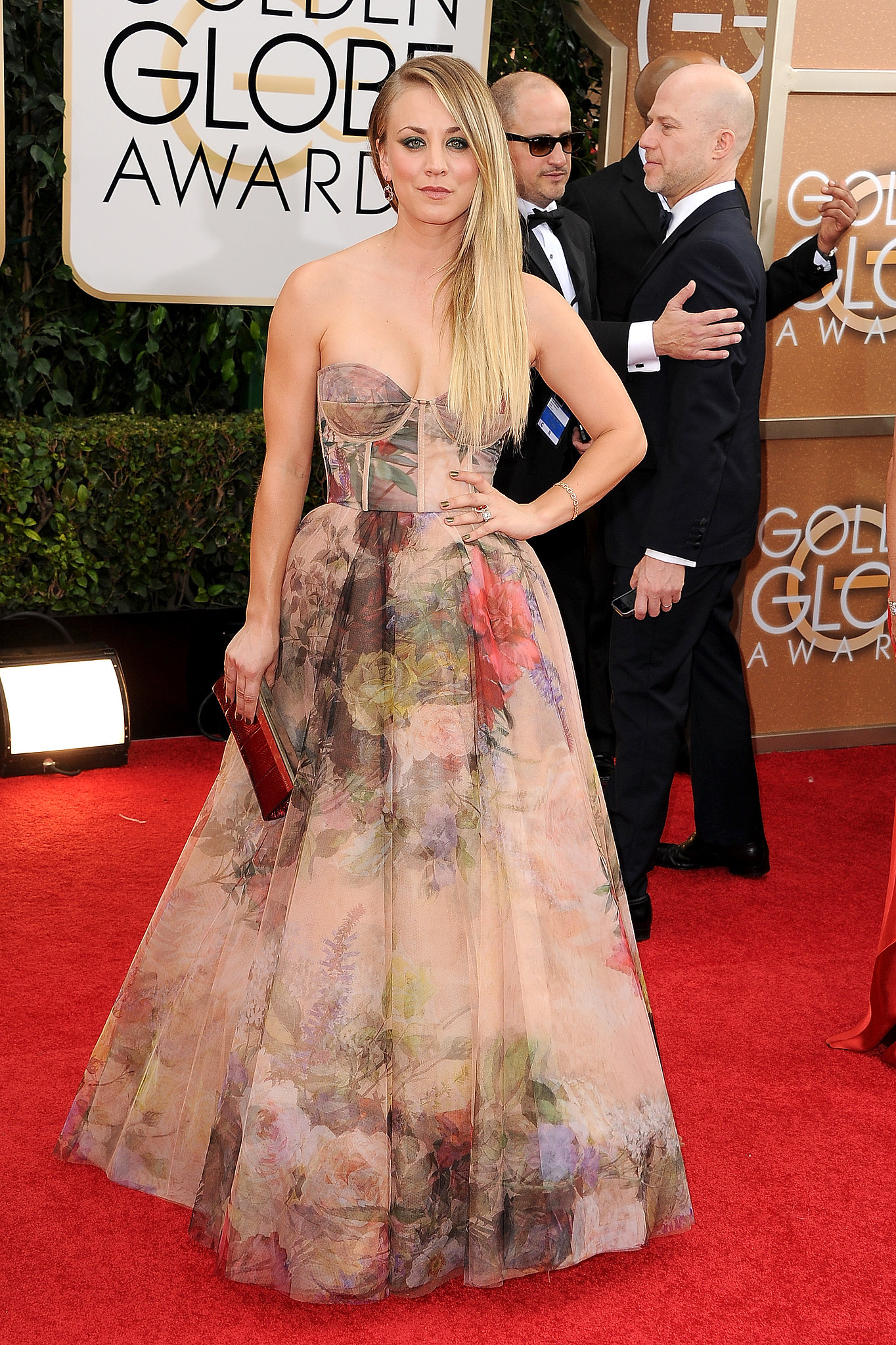 Kaley Cuoco wore a printed gown to the Golden Globe Awards.