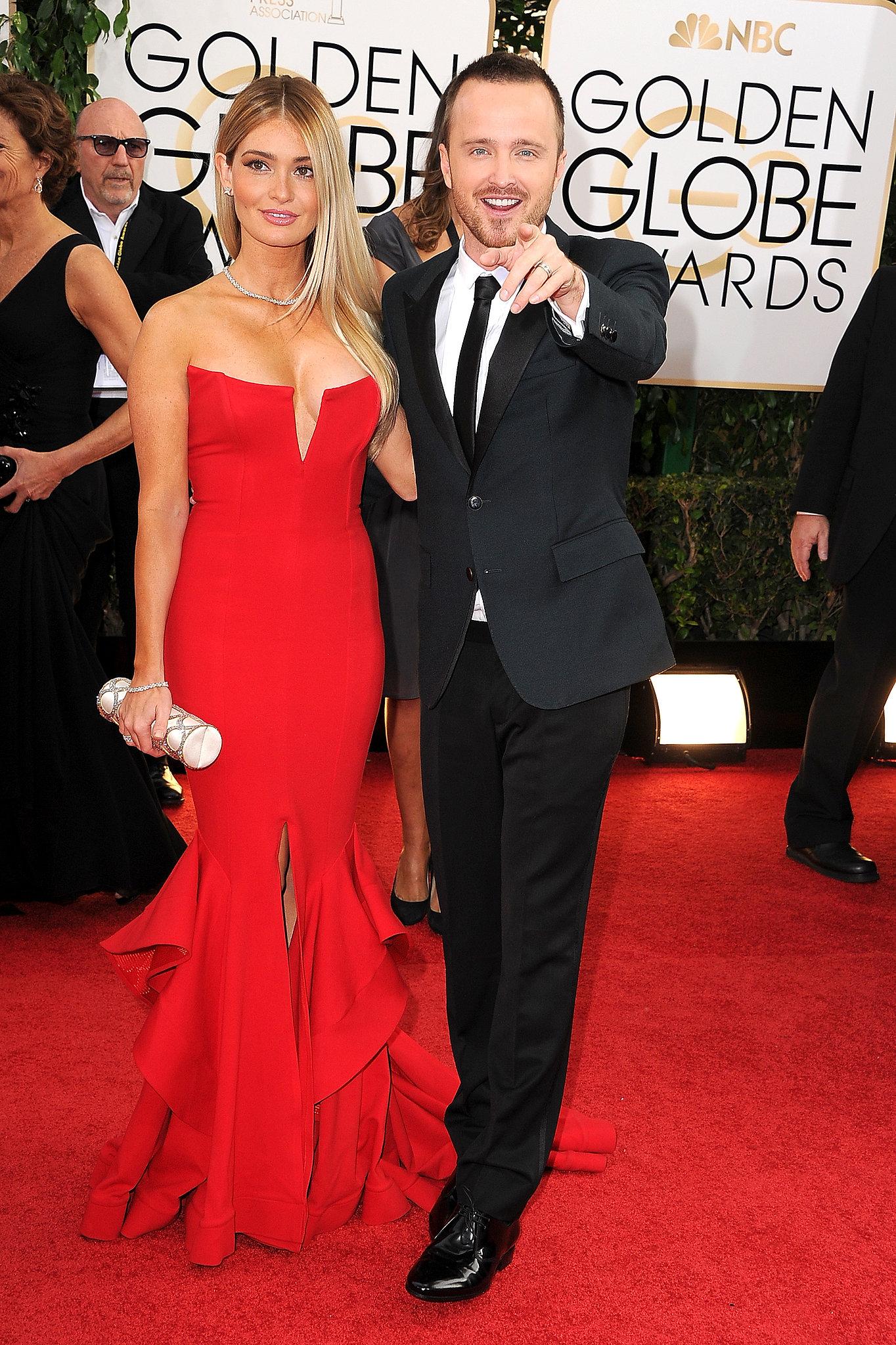 Aaron Paul joked around alongside his wife, Lauren Parsekian, at the Golden Globes.