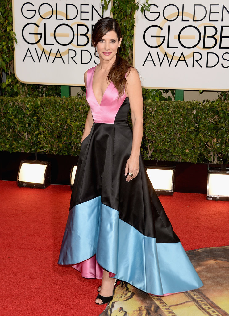 Sandra Bullock wore a colorblock gown for her big night at the Globes.