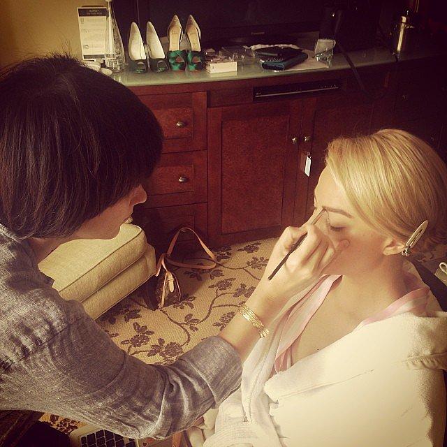 Margot Robbie got glammed up for the Golden Globes. Source: Instagram user jennstreicher