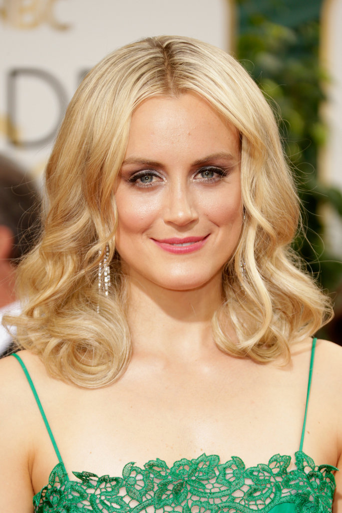Sultry curls, metallic makeup, and flushed pink lipstick for Taylor Schilling.