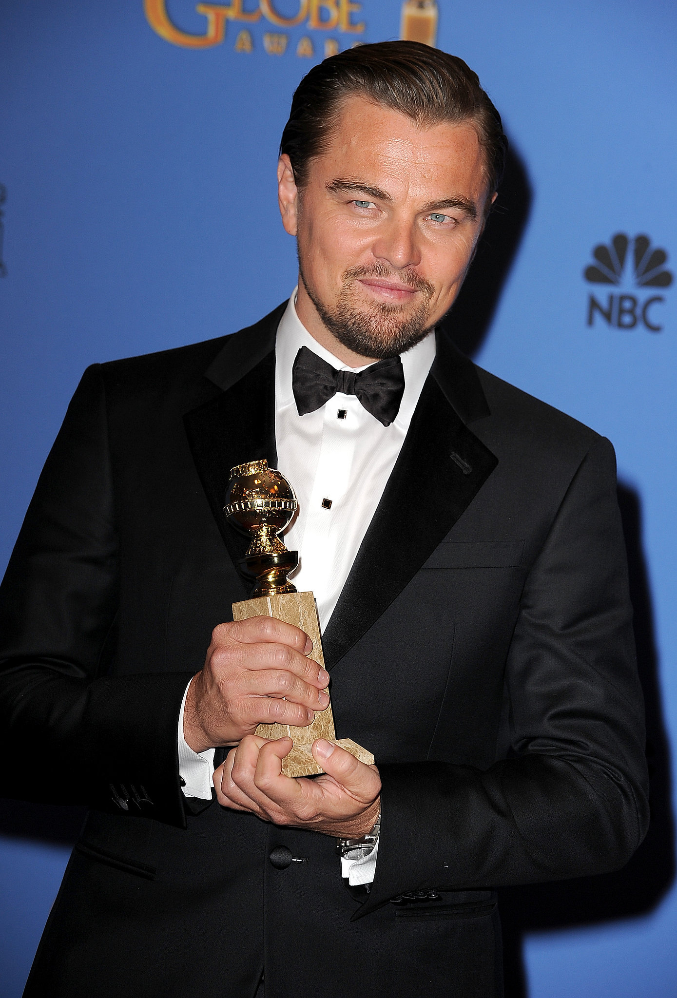 Leonardo DiCaprio looked sincerely happy with his Golden Globe.