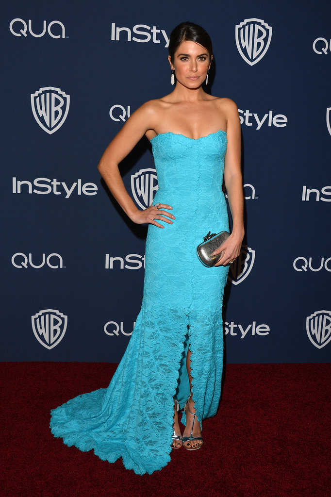 Nikki Reed sported a bold blue Monique Lhuillier dress for the event.