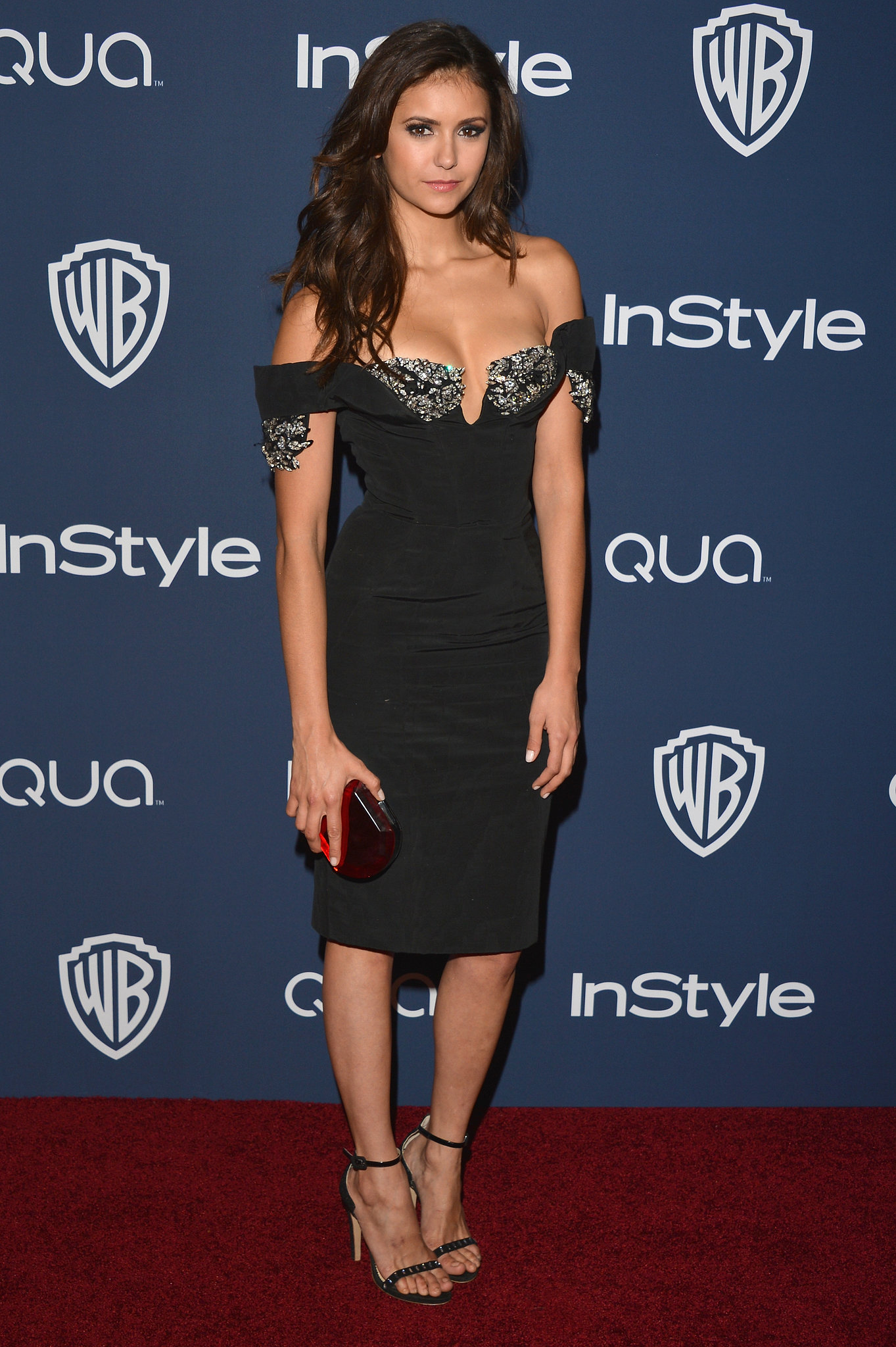 Nina Dobrev showed up to the InStyle and Warner Bros. party after the Golden Globes in LA.