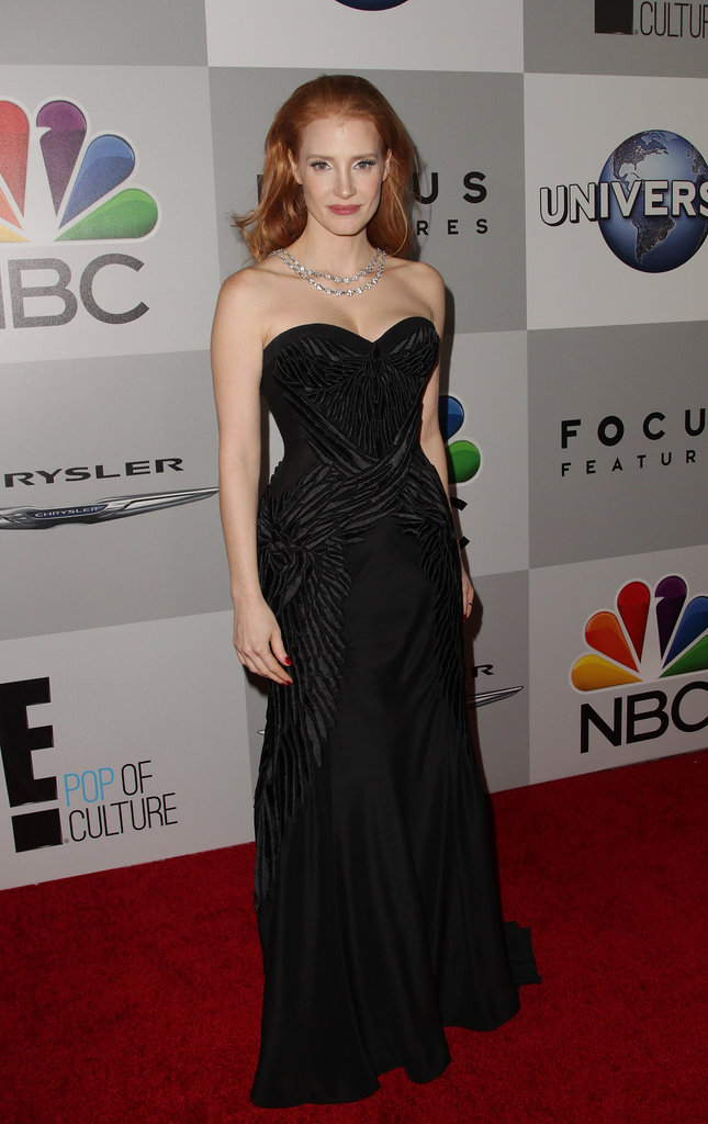 Jessica Chastain dropped by NBCUniversal's party.