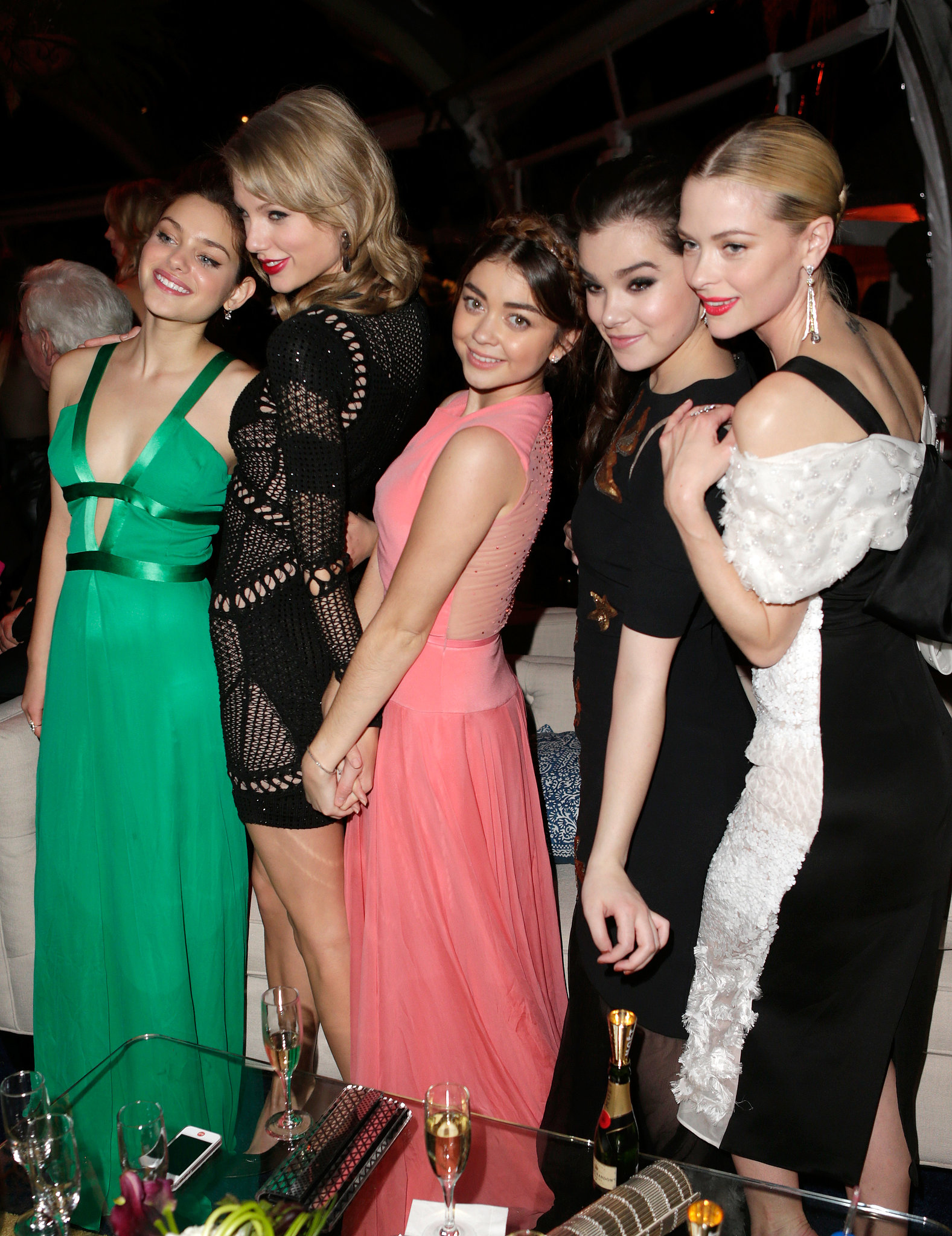 Odeya Rush, Taylor Swift, Sarah Hyland, Hailee Steinfeld, and Jaime King grouped up at The Weinstein Company's Golden Globes afterparty.
