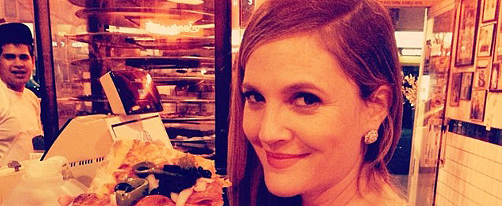 "Drew Barrymore Dives Into ""Pregnant Pizza"" Post-Globes"