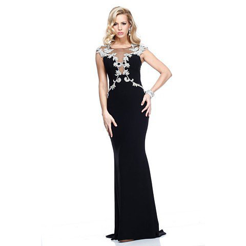 Mermaid Black Evening Dresses Scoop Sexy Formal Dresses BAB0113