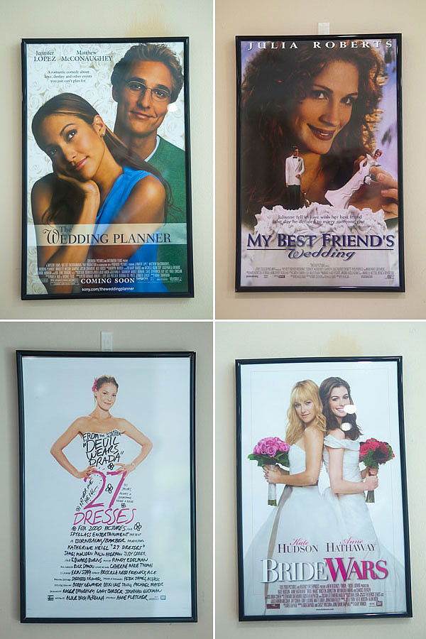 This easy and inexpensive project adds a big punch. Order wedding movie posters, pop them in cheap frames, and hang them around the room.