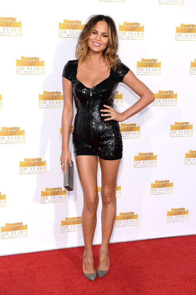Chrissy Teigen wore this black ensemble to the SI party.