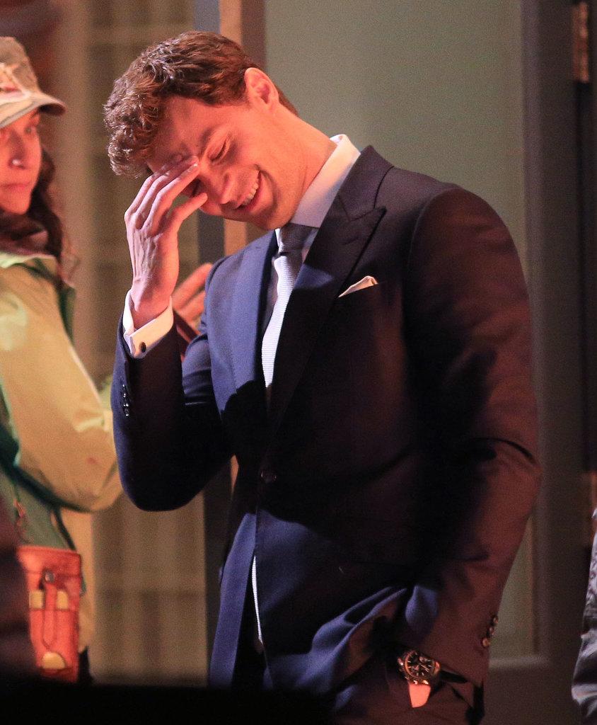 Dornan laughed on set.