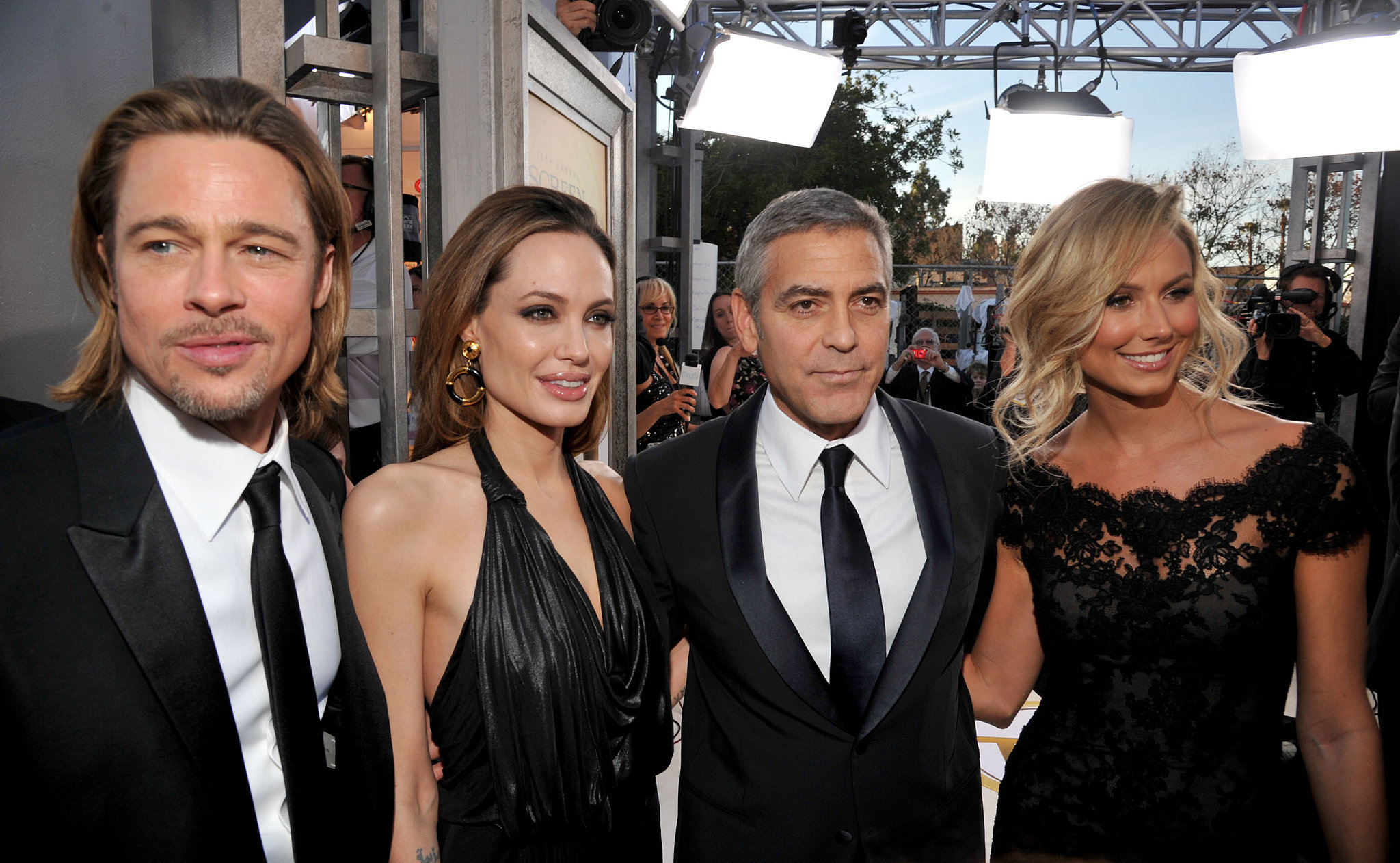 Brad Pitt, Angelina Jolie, George Clooney, and Stacy Keibler made a double date out of the award show in 2012.