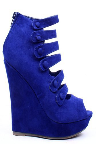 BLUE FAUX SUEDE STRAPPY PLATFORM WEDGE