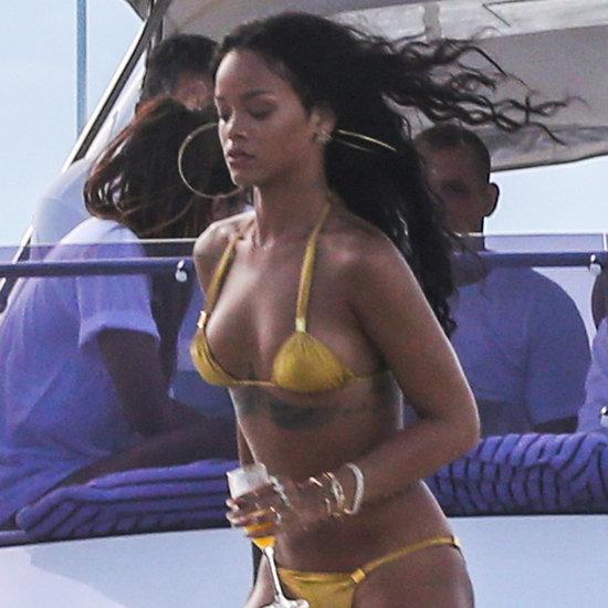 Rihanna in a Gold Bikini in Rio