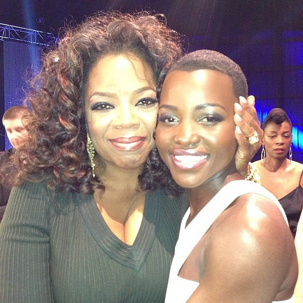 Oprah Winfrey and Lupita Nyong'o smiled cheek to cheek backstage at the Critics' Choice Awards. Source: Instagram user oprah