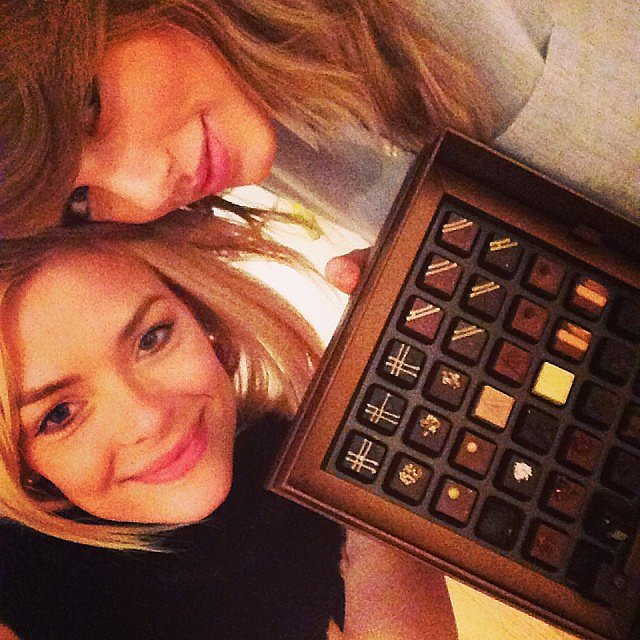Taylor Swift and Jaime King had a girls' night in with a box of Armani chocolates. Source: Instagram user jaime_king