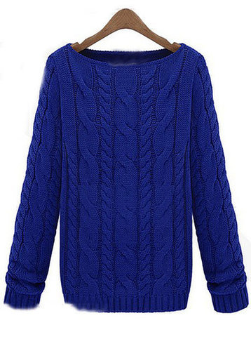 Cable Pattern Boat Neck Sweater