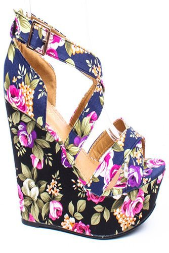 NAVY FLOWER FABRIC STRAPPY PLATFORM WEDGE