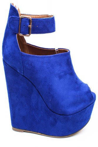 ROYAL BLUE FAUX SUEDE PEEP TOE ANKLE STRAP PLATFORM WEDGE BOOTIE