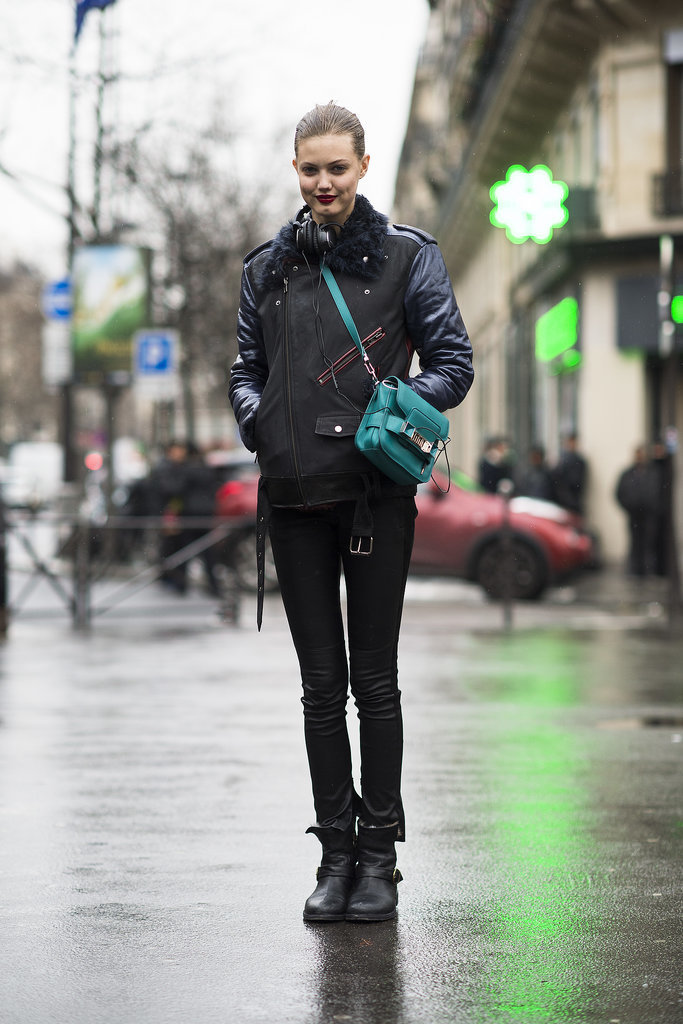 Lindsey Wixson's bright green Proenza bag was a testament to the power of details — it played off of her lipstick beautifully.  Source: Le 21ème | Adam Katz Sinding