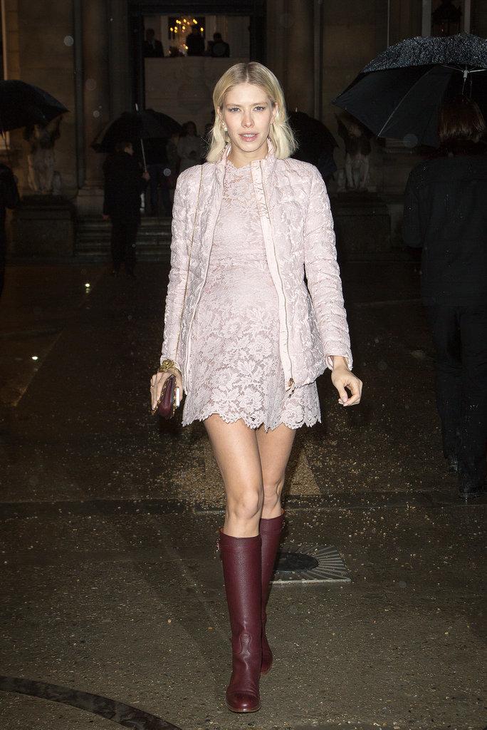 Elena Perminova arriving for the Valentino Haute Couture show.