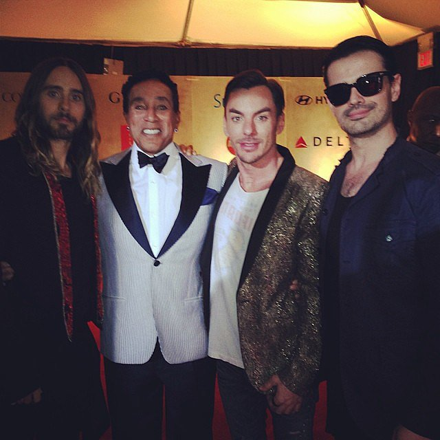The band 30 Seconds to Mars, including Jared Leto, posed with Smokey Robinson. Source: Instagram user 30secondstomars