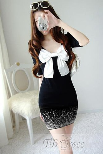 $ 11.69 Lovely Short Sleeves Bowknot Mini Length Sheath Dress