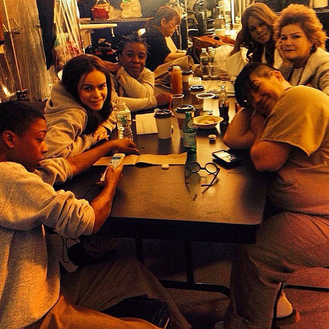 The cast chilled out in between takes. Source: Instagram user oitnb