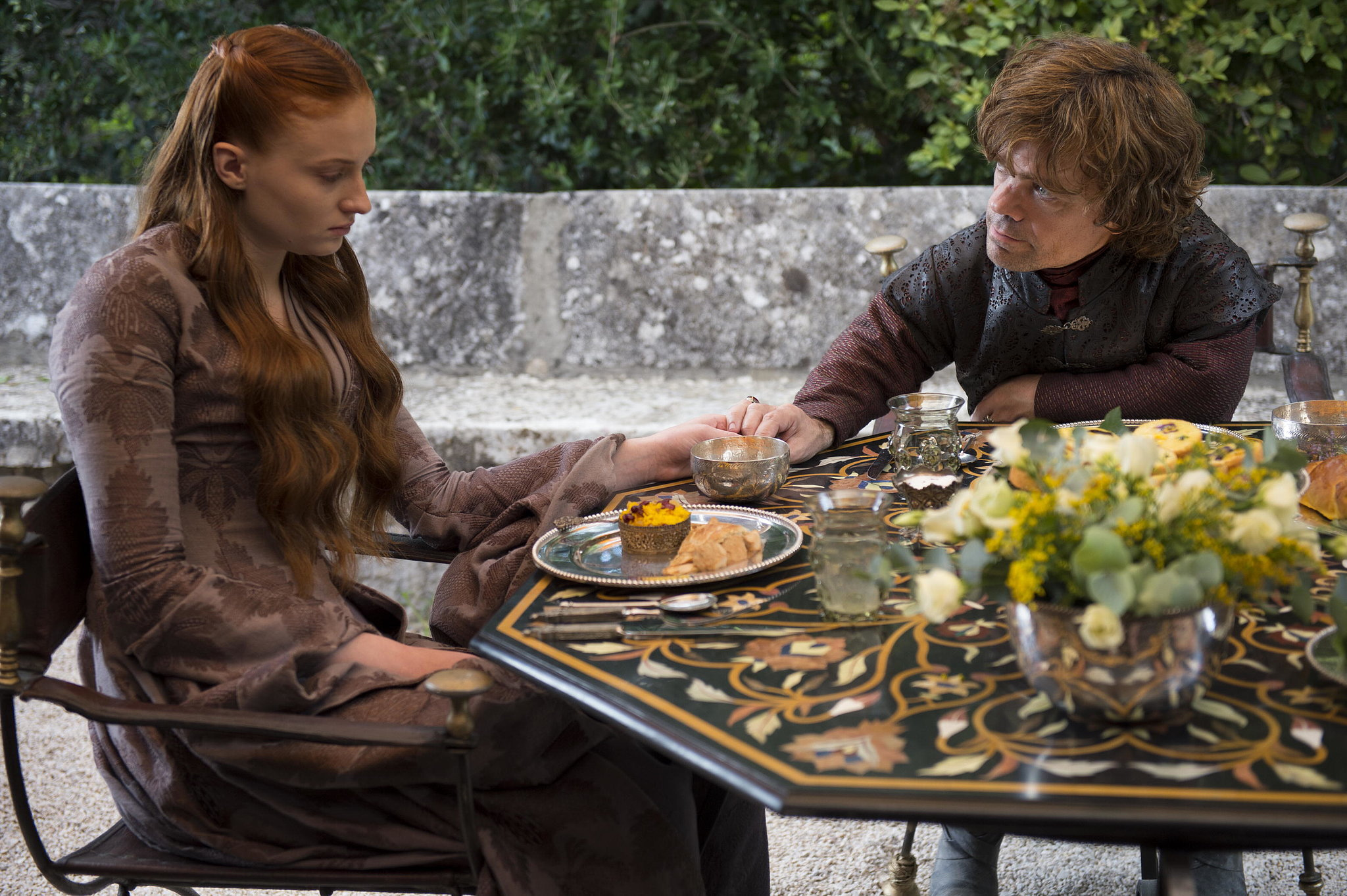 Sophie Turner as Sansa Stark and Peter Dinklage as Tyrion.