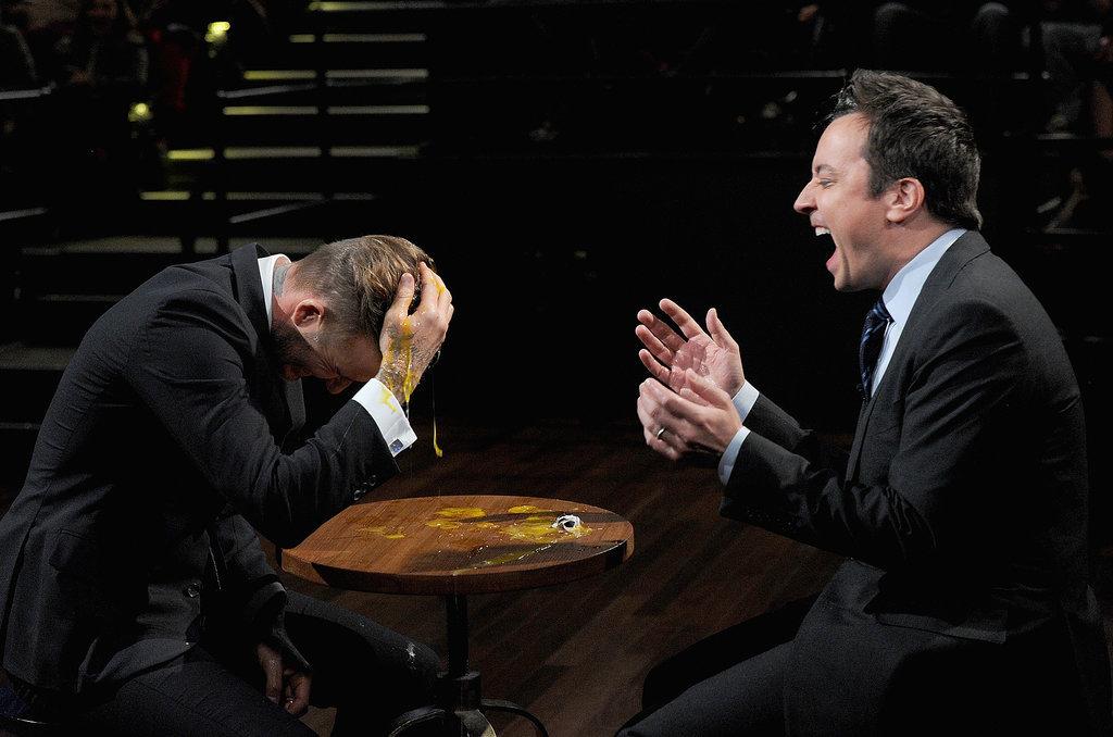 LOL! David Beckham Smashes Raw Eggs on His Head