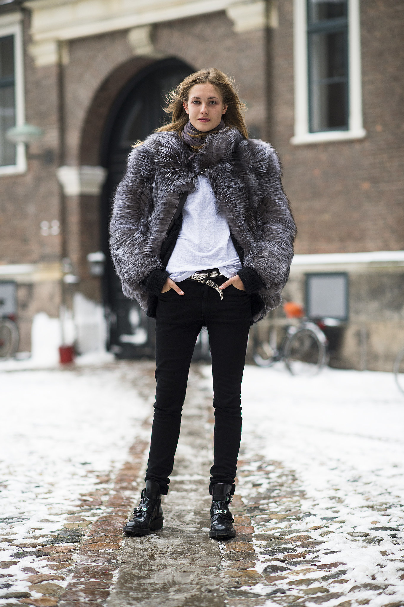 Now's the time to embrace luxe texture in the form of a furry coat — the perfect antidote to black skinny jeans. Source: Le 21ème | Adam Katz Sinding