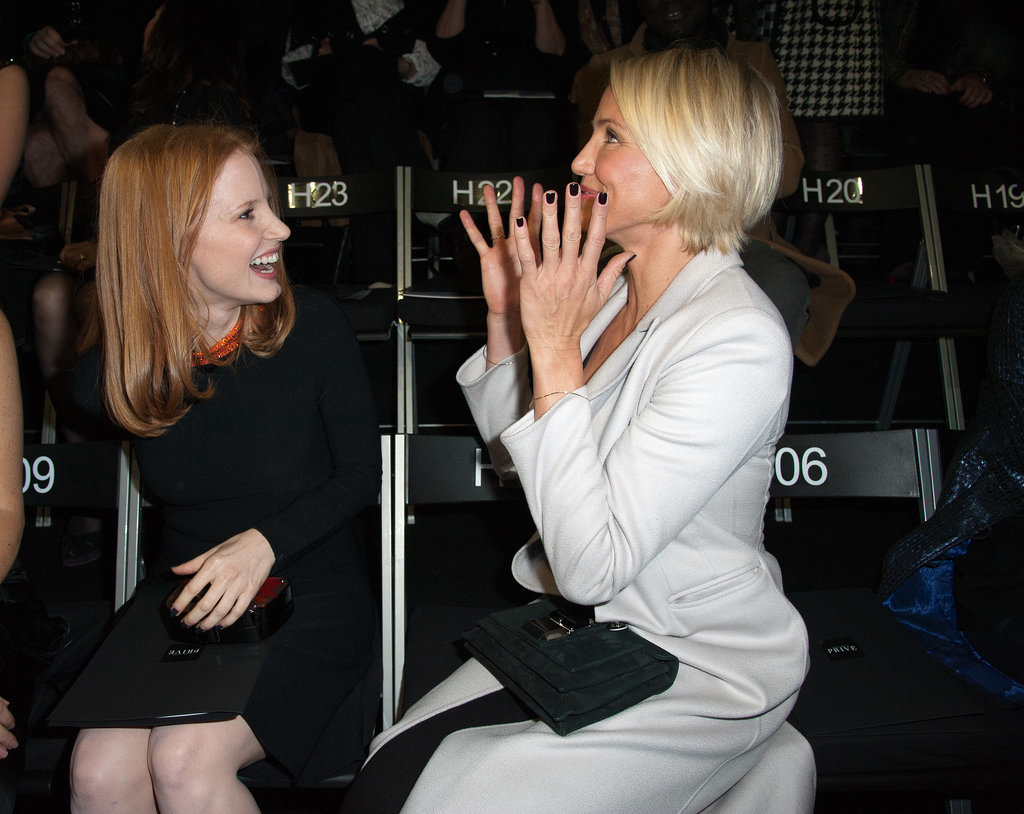 Jessica Chastain and Cameron Diaz were so excited at Giorgio Armani in January 2012.