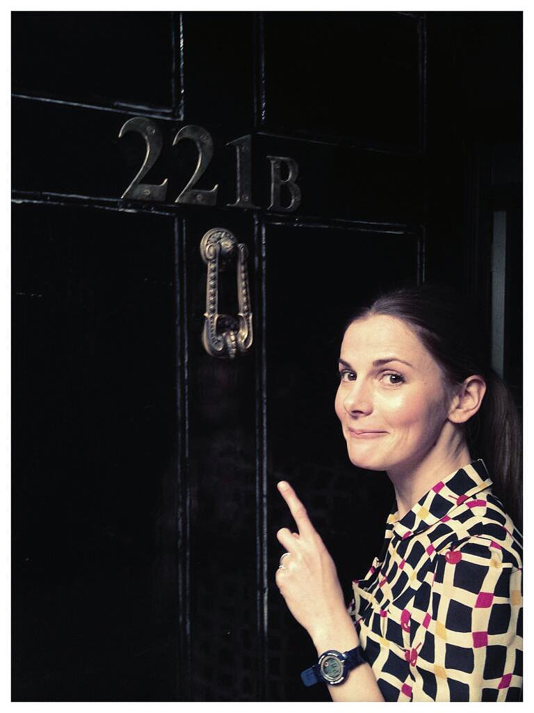 """""""And here's me at the front door. Helpfully, I'm pointing out the number."""" — Louise Brealey who plays Molly Hooper. Source: Twitter user louisebrealey"""