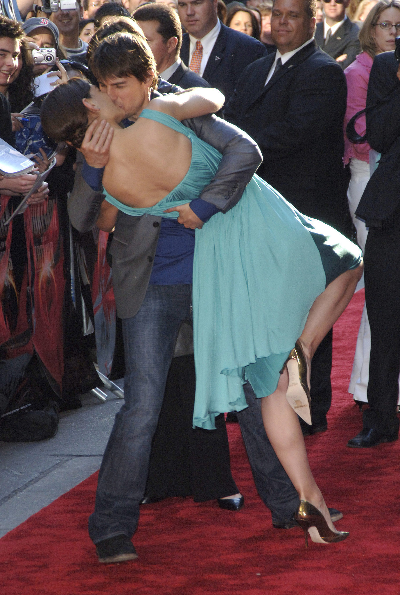 Tom Cruise dipped Katie Holmes on the red carpet in June 2005 at the NYC War of the Worlds premiere.