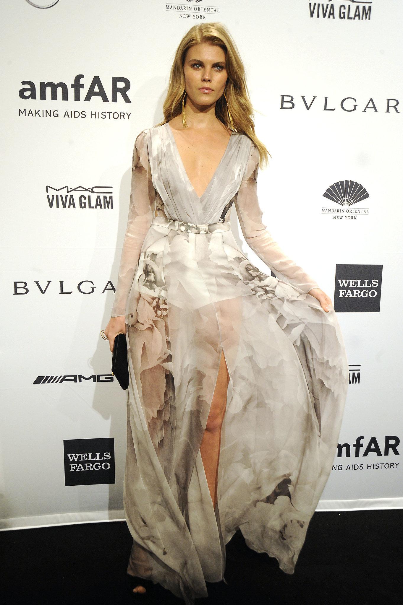 Maryna Linchuk, wearing Gabriela Cadena, at amfAR's New York Gala.