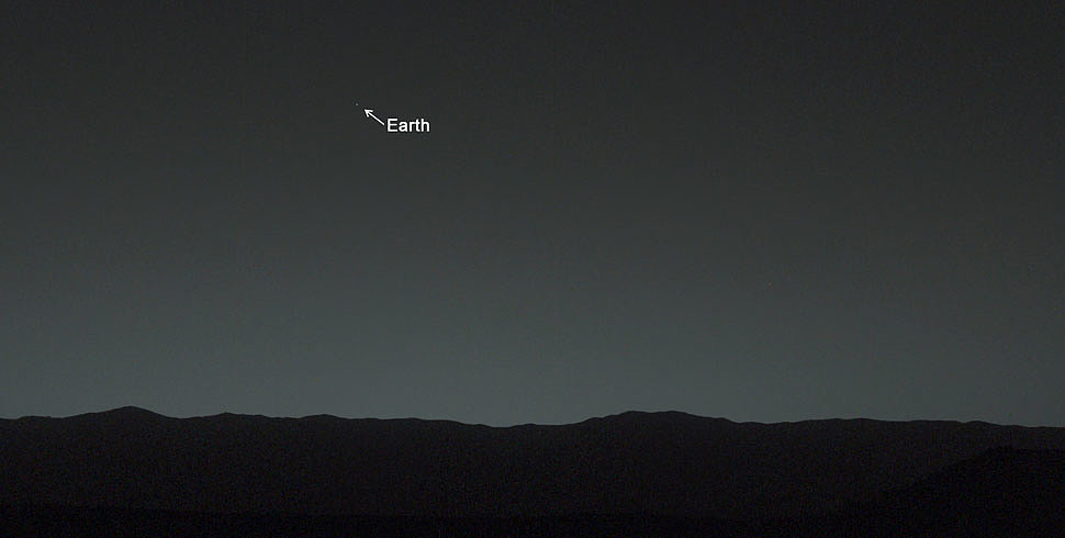 Earth looks teeny tiny in this picture taken from Mars by the Curiosity rover earlier this month.  Source: NASA/JPL-Caltech/MSSS/TAMU