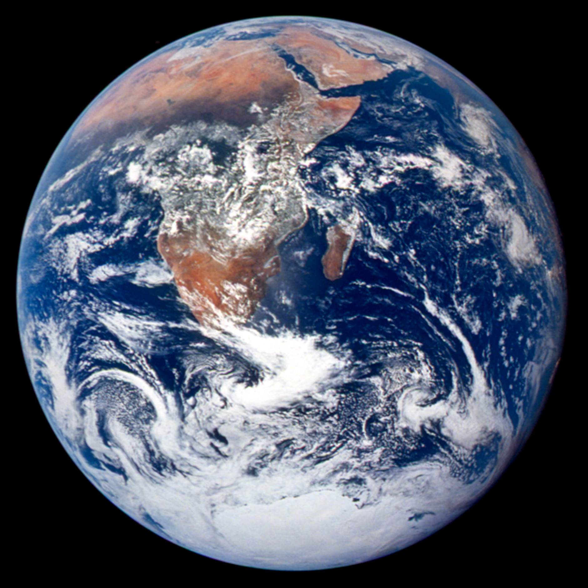 This classic picture of Earth was taken on Dec. 7, 1972, by the Apollo 17 crew on its way to the moon. It captures the space between the Mediterranean Sea and the Antarctica South Polar ice cap.  Source: NASA