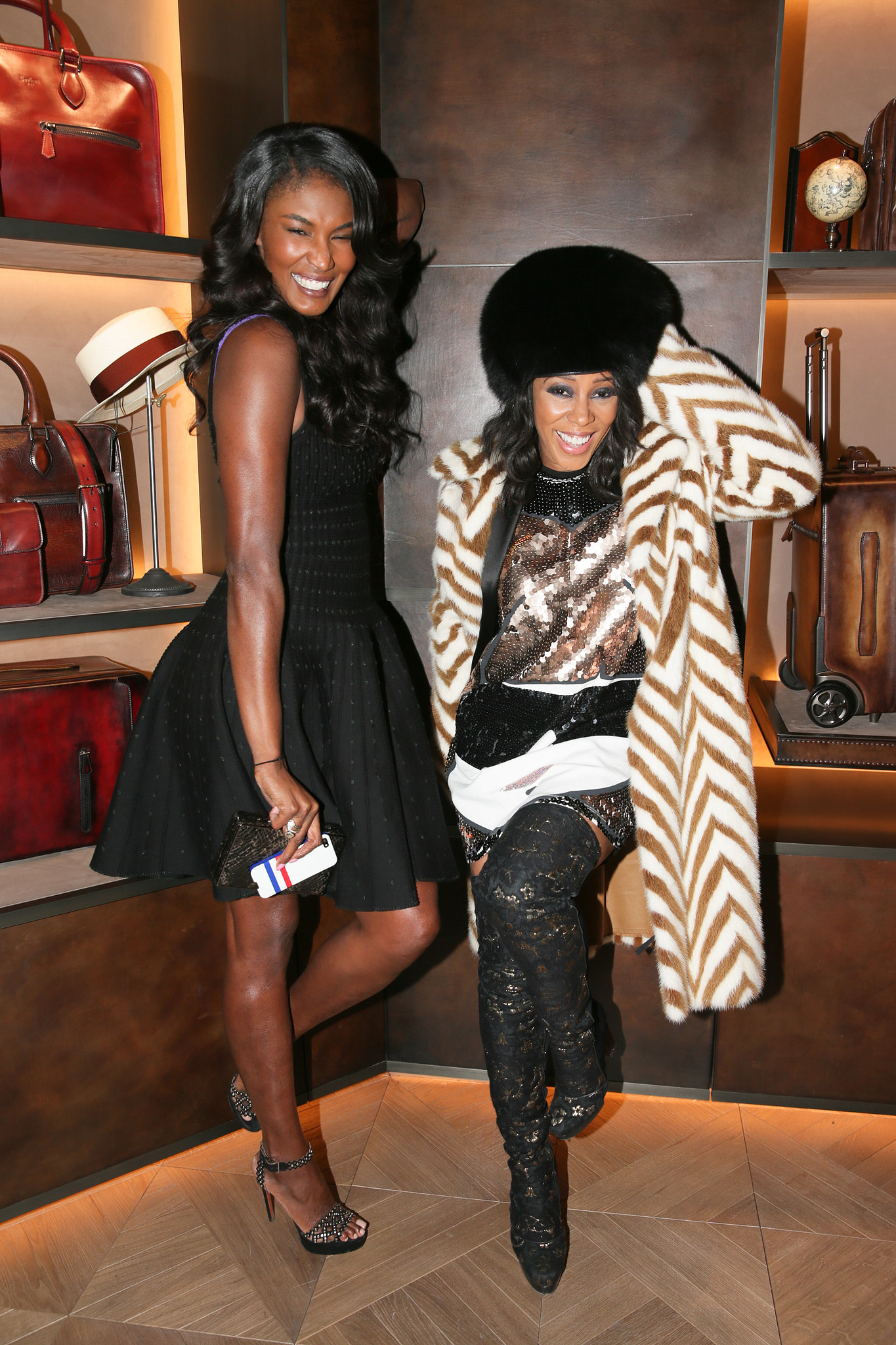 Sessilee Lopez and June Ambrose at Berluti's Madison Avenue store opening.
