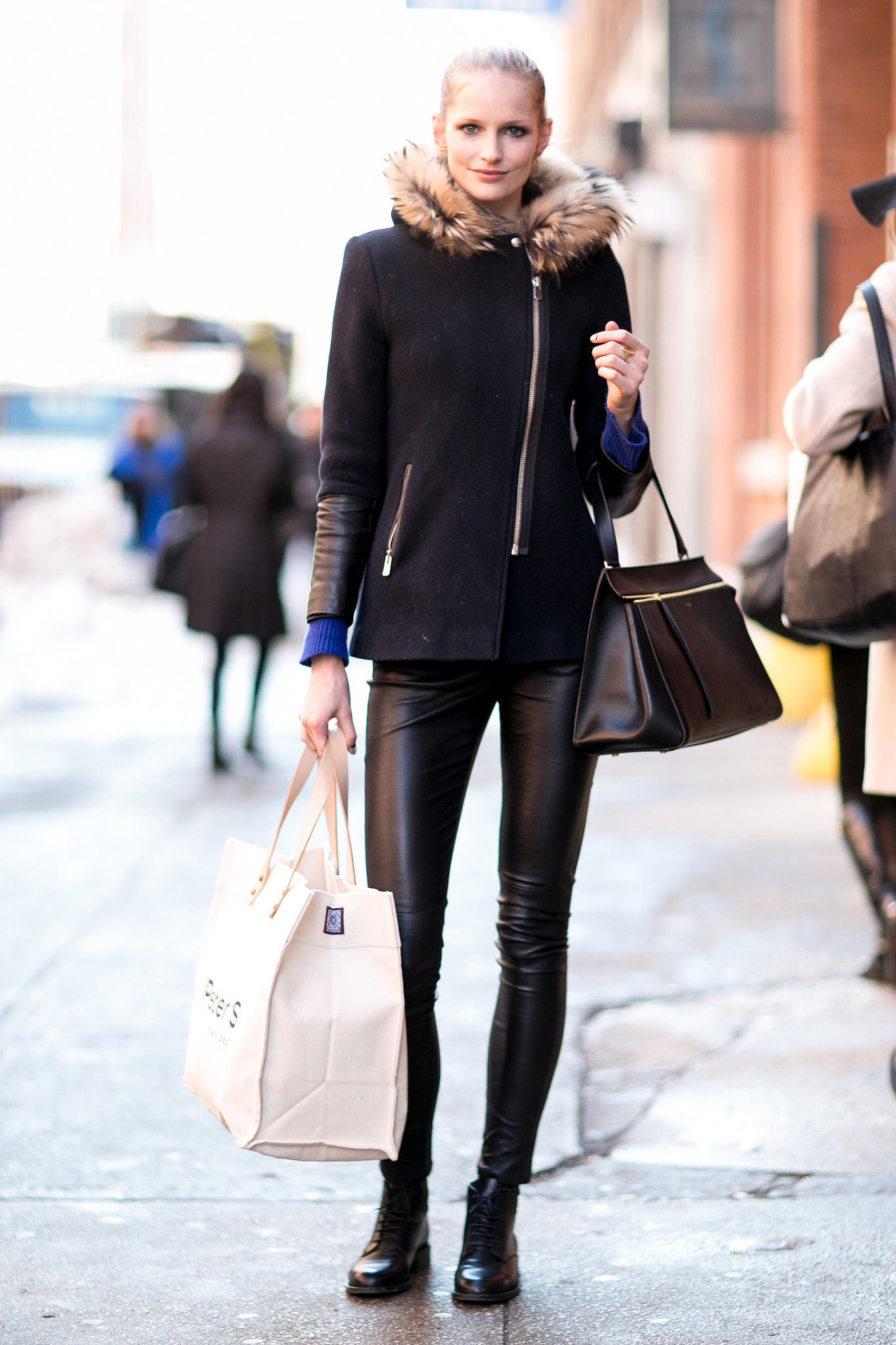 She stayed true to the model dress code with leather leggings and a | The NYFW Model Moments You ...