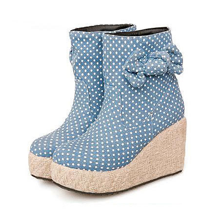 Image of [grxjy5190353]Polka Dots Blue Bowknot Ankle Bootie High Wedge Heel Shoes