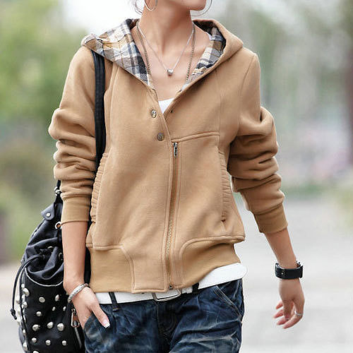 Image of  [grzxy6601029]Fashion Plaid Lined Sweatshirt Coat Short Jacket Hoodie