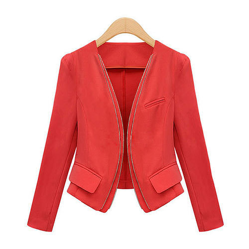 Image of [grxjy560856]Black Red Blazer Office Ladies Business Suit Short Tunic Coat