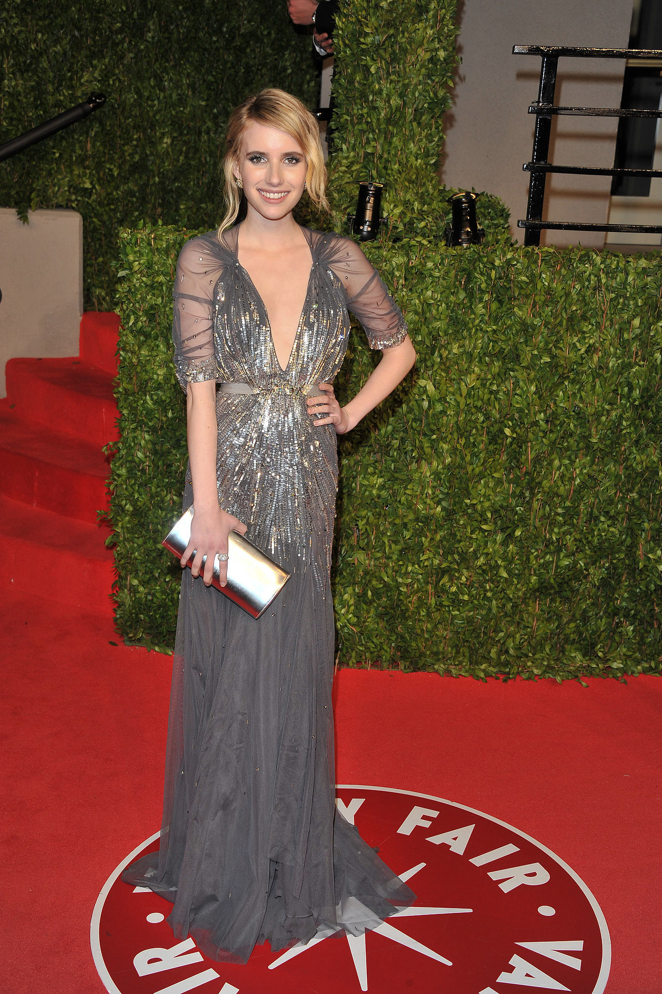 Emma glowed in a shimmering Jenny Packham gown at the Vanity Fair Oscars party in February 2011.