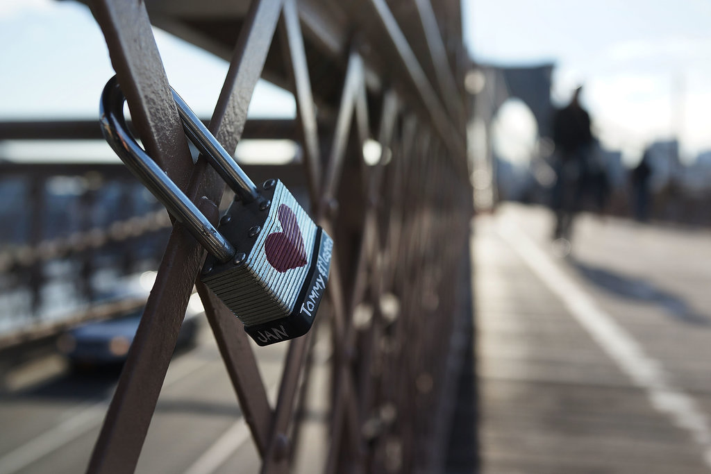 A love padlock was attached to NYC's Brooklyn Bridge.