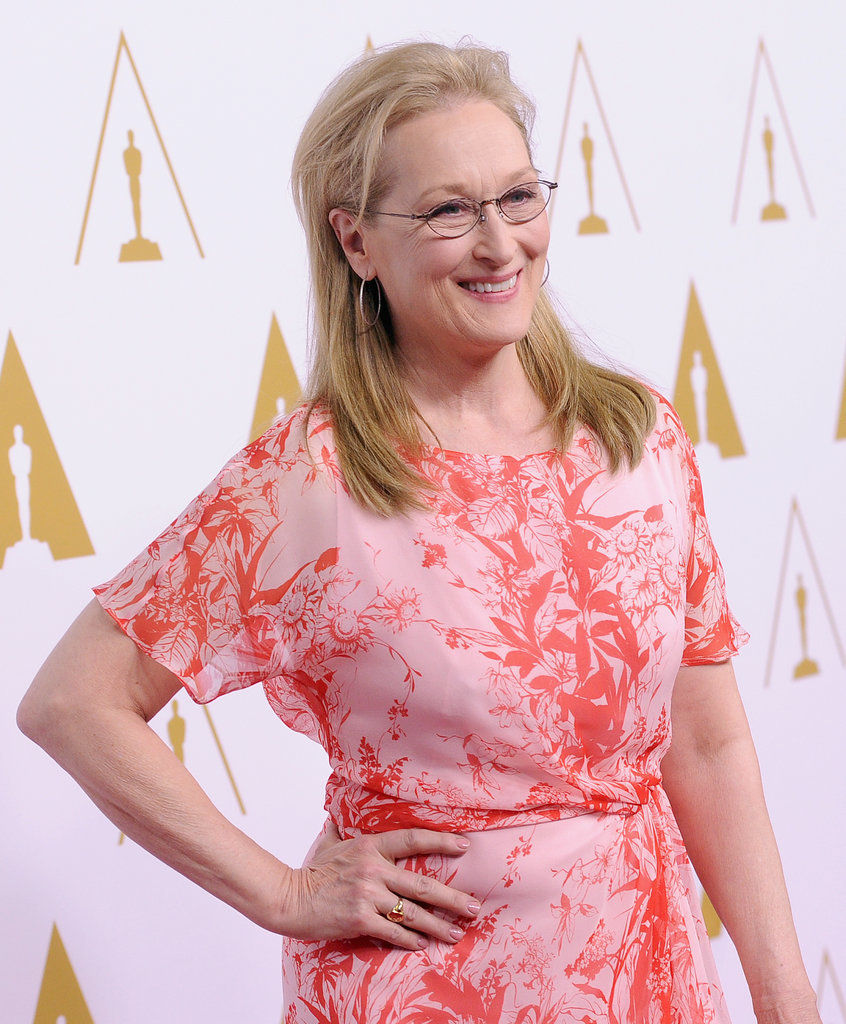 Meryl Streep selected a pop of color for her outfit.