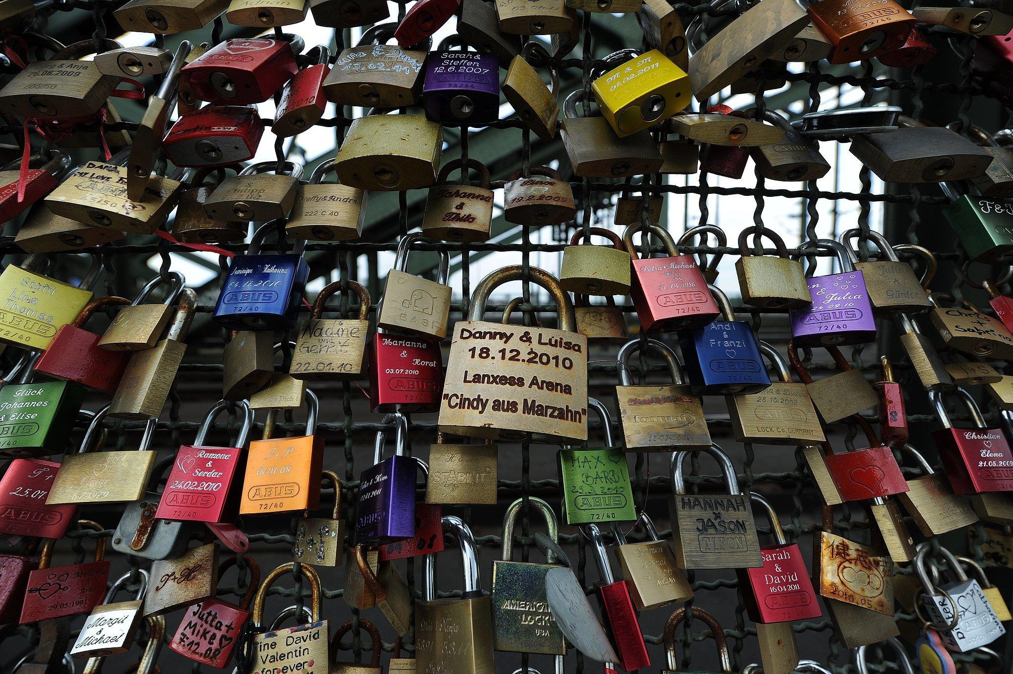 Love locks on a bridge in Germany.