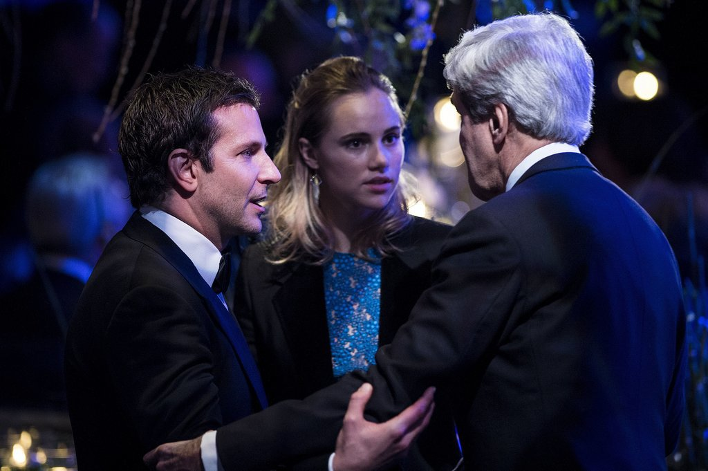 Bradley Cooper and Suki Waterhouse caught up with Secretary of State John Kerry during a night of diplomatic partying at the White House on Tuesday.