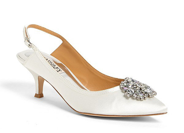 Badgley Mischka Pea satin slingback kitten heels ($245)